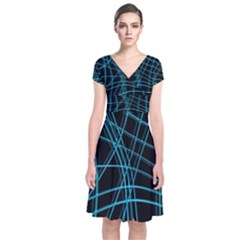 Cyan and black warped lines Short Sleeve Front Wrap Dress