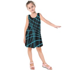 Cyan and black warped lines Kids  Sleeveless Dress