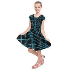 Cyan and black warped lines Kids  Short Sleeve Dress