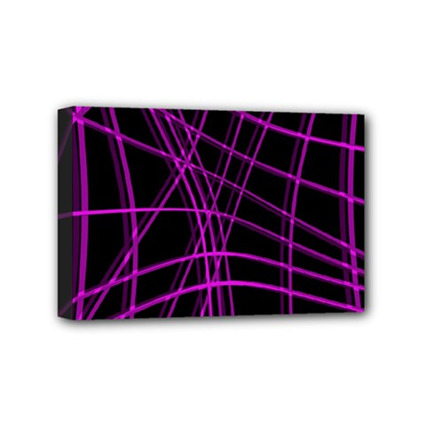 Purple and black warped lines Mini Canvas 6  x 4