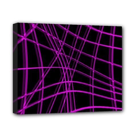 Purple and black warped lines Canvas 10  x 8