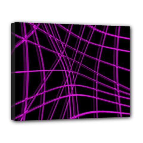Purple and black warped lines Canvas 14  x 11