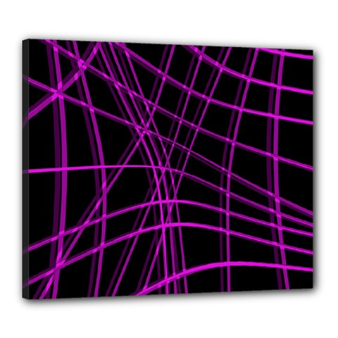 Purple and black warped lines Canvas 24  x 20
