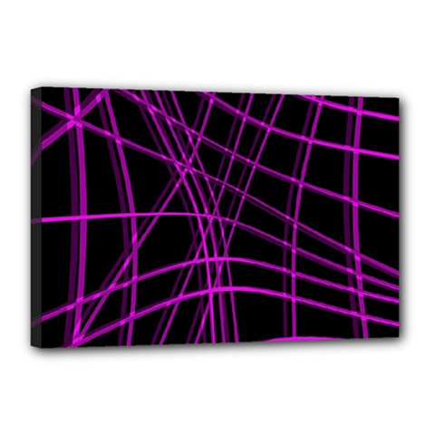 Purple and black warped lines Canvas 18  x 12