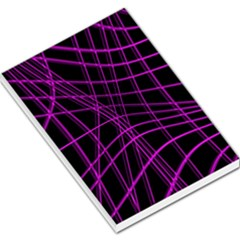 Purple and black warped lines Large Memo Pads