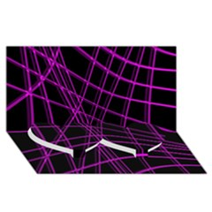 Purple and black warped lines Twin Heart Bottom 3D Greeting Card (8x4)