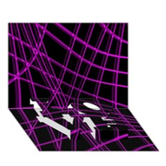 Purple and black warped lines LOVE Bottom 3D Greeting Card (7x5)