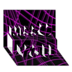 Purple and black warped lines Miss You 3D Greeting Card (7x5)