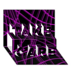 Purple and black warped lines TAKE CARE 3D Greeting Card (7x5)