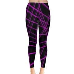 Purple and black warped lines Leggings