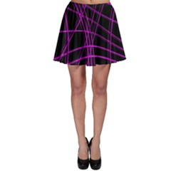 Purple and black warped lines Skater Skirt