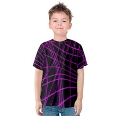 Purple and black warped lines Kids  Cotton Tee