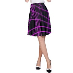Purple and black warped lines A-Line Skirt
