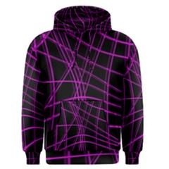 Purple and black warped lines Men s Pullover Hoodie