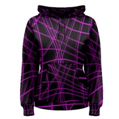 Purple and black warped lines Women s Pullover Hoodie