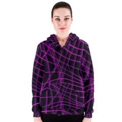 Purple and black warped lines Women s Zipper Hoodie
