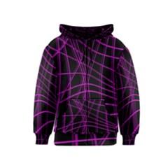 Purple and black warped lines Kids  Zipper Hoodie