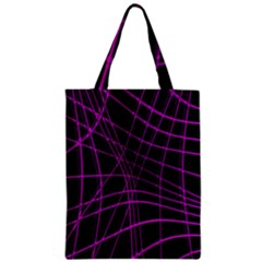 Purple and black warped lines Zipper Classic Tote Bag