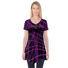 Purple and black warped lines Short Sleeve Tunic