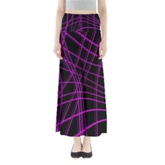 Purple And Black Warped Lines Maxi Skirts