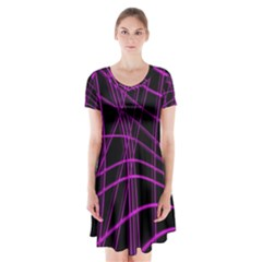 Purple and black warped lines Short Sleeve V-neck Flare Dress