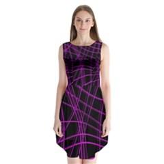 Purple And Black Warped Lines Sleeveless Chiffon Dress