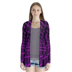 Purple and black warped lines Drape Collar Cardigan