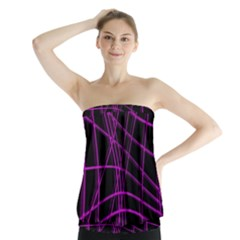 Purple And Black Warped Lines Strapless Top