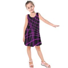 Purple and black warped lines Kids  Sleeveless Dress