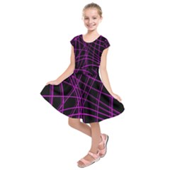 Purple and black warped lines Kids  Short Sleeve Dress