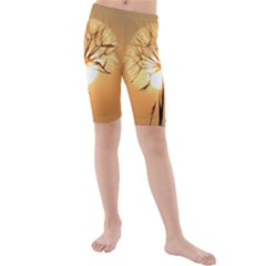 Dandelion Sun Dew Water Plants Kids  Mid Length Swim Shorts