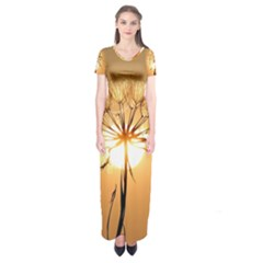 Dandelion Sun Dew Water Plants Short Sleeve Maxi Dress