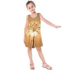 Dandelion Sun Dew Water Plants Kids  Sleeveless Dress