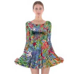 Dubai Abstract Art Long Sleeve Skater Dress