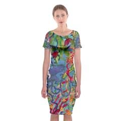 Dubai Abstract Art Classic Short Sleeve Midi Dress