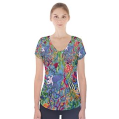 Dubai Abstract Art Short Sleeve Front Detail Top