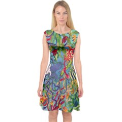 Dubai Abstract Art Capsleeve Midi Dress