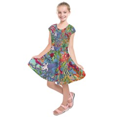 Dubai Abstract Art Kids  Short Sleeve Dress