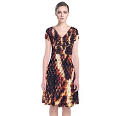 Fabric Yikes Texture Short Sleeve Front Wrap Dress