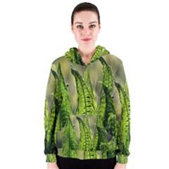 Fern Ferns Green Nature Foliage Women s Zipper Hoodie