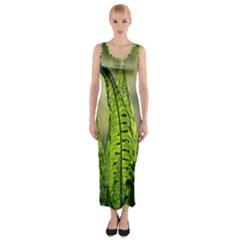 Fern Ferns Green Nature Foliage Fitted Maxi Dress