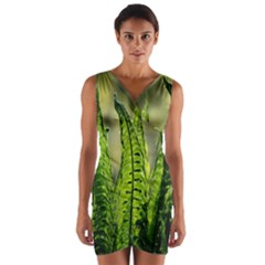 Fern Ferns Green Nature Foliage Wrap Front Bodycon Dress