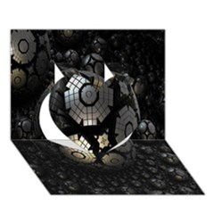Fractal Sphere Steel 3d Structures Heart 3D Greeting Card (7x5)