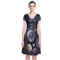 Fractal Sphere Steel 3d Structures Short Sleeve Front Wrap Dress