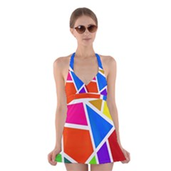 Geometric Blocks Halter Swimsuit Dress
