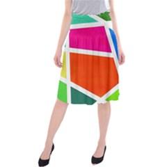 Geometric Blocks Midi Beach Skirt