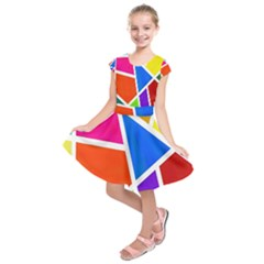 Geometric Blocks Kids  Short Sleeve Dress