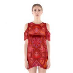 Geometric Line Art Background Cutout Shoulder Dress
