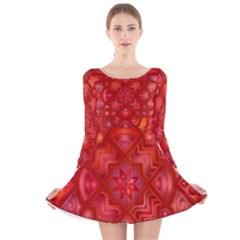 Geometric Line Art Background Long Sleeve Velvet Skater Dress