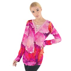 Geometric Magenta Garden Women s Tie Up Tee